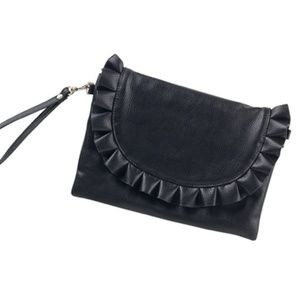 Vegan Leather Ruffle Clutch/Purse